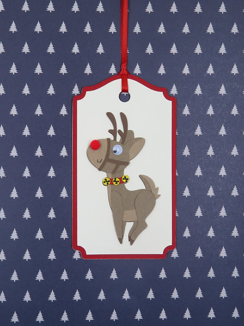 Many Poses of Rudolph Pose 8 Gift Tag