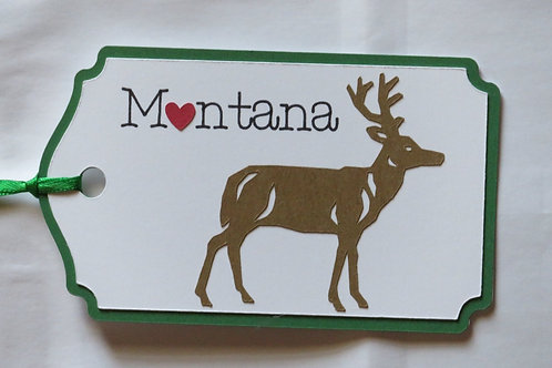 Heart in Montana Deer Silhouette Gift Tag