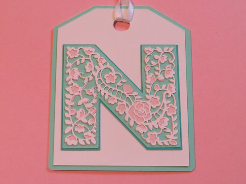 "Ornate Lace-like Letter ""N"" Monogram Gift Tag"