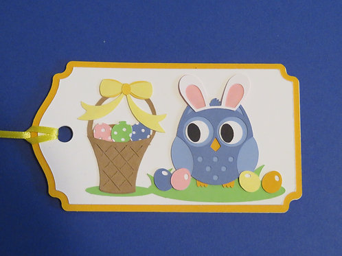 Easter Owl with Bunny Ears and Basket Gift Tag