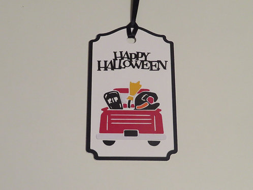 Red Truck Series Happy Halloween Gift Tag