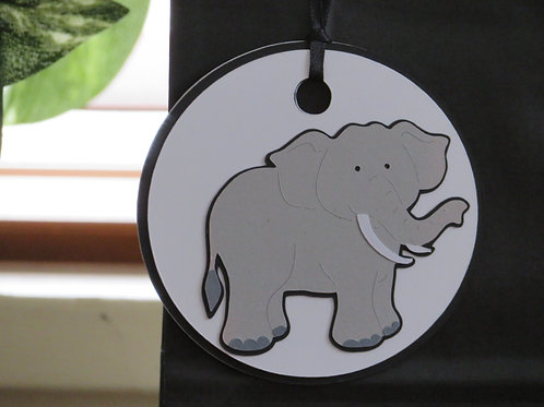 Gray Elephant with Tusks Gift Tag