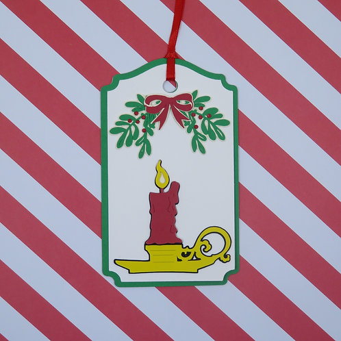 Candle Under the Mistletoe Gift Tag