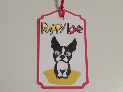 Boston Terrier Googly Eyes Puppy Love Gift Tag