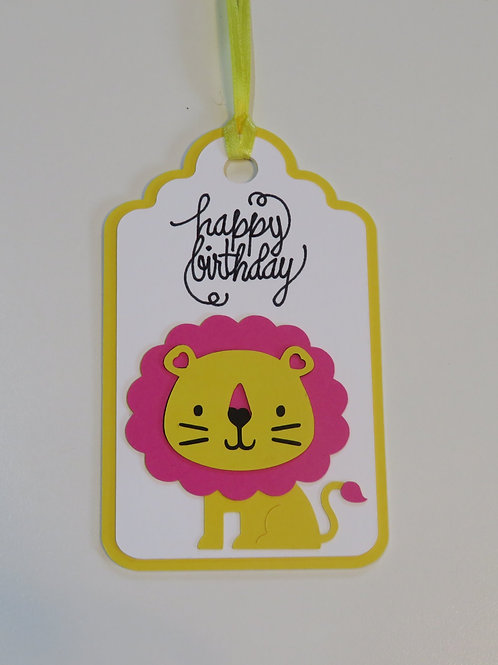 Happy Birthday Lion Gift Tag
