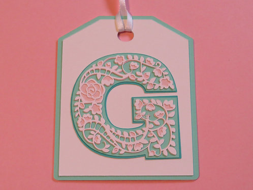 "Ornate Lace-like Letter ""G"" Monogram Gift Tag"