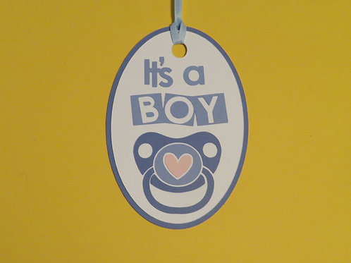 It's a Boy Blue Binky Pacifier Gift Tag