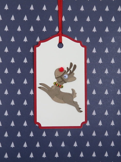 Many Poses of Rudolph Pose 1 Gift Tag
