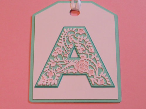 "Ornate Lace-like Letter ""A"" Monogram Gift Tag"