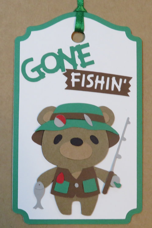 Gone Fishin' Bear Gift Tag