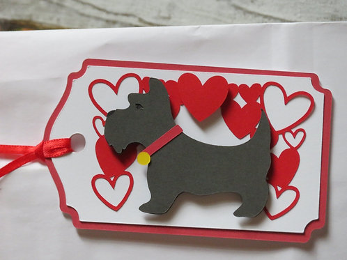 Scottish Terrier Scottie Under Canopy of Hearts Gift Tag