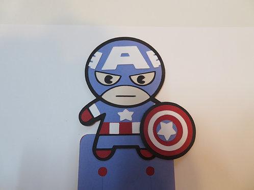 Handmade  Layered Captain America Bookmark