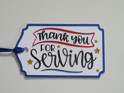 Thank You for Serving Military Patriotic Gift Tag