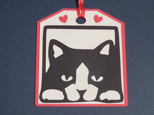 Black and White Tuxedo Cat in Center Gift Tag