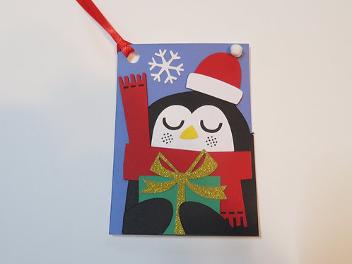 Penguin with Present Gift Tag
