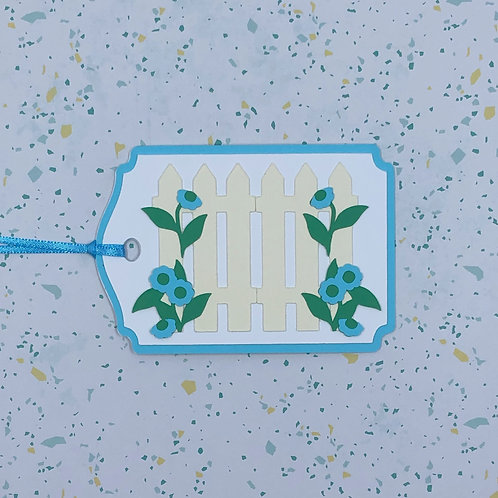 Blue Flowers Winding Through Fence Gift Tag