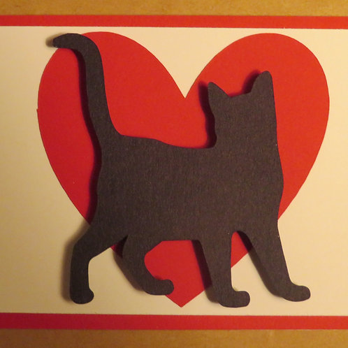 Short-Haired Cat Silhouette in Front of Large Red Heart