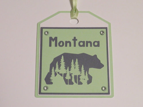 Montana Trees and Grizzly Bear Silhouette Gift Tag