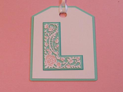 "Ornate Lace-like Letter ""L"" Monogram Gift Tag"