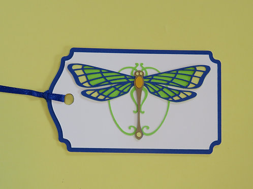 Art Nouveau Dragonfly Gift Tag