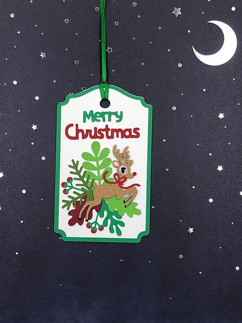 Merry Christmas Rudolph on Seasonal Leaves Gift Tag