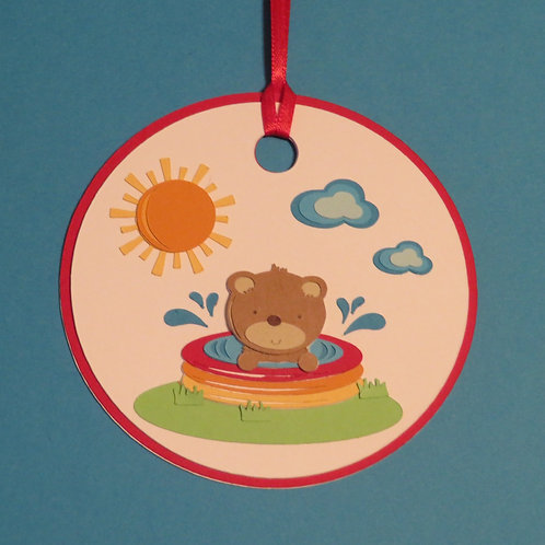 Bear Cub in Swimming Pool Gift Tag