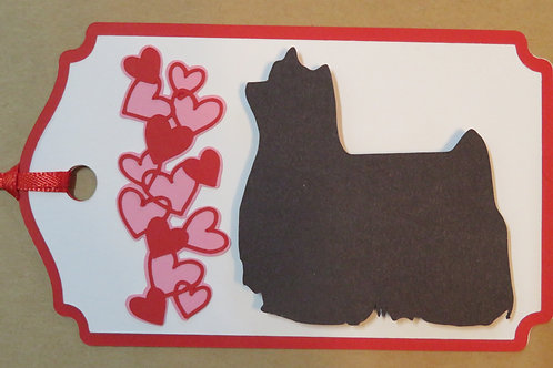 Show Yorkie Silhouette Beside Waterfall of Hearts