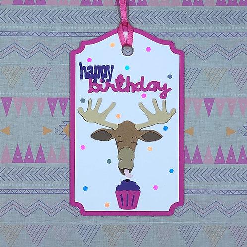 Happy Birthday Moose Gift Tag