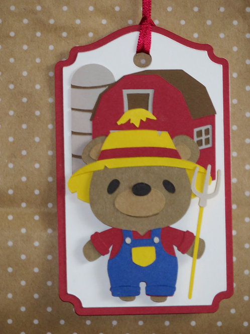 Farmer Brown Bear Gift Tag