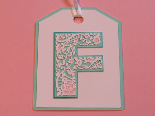 """Ornate Lace-like Letter """"F"""" Monogram Gift Tag"""
