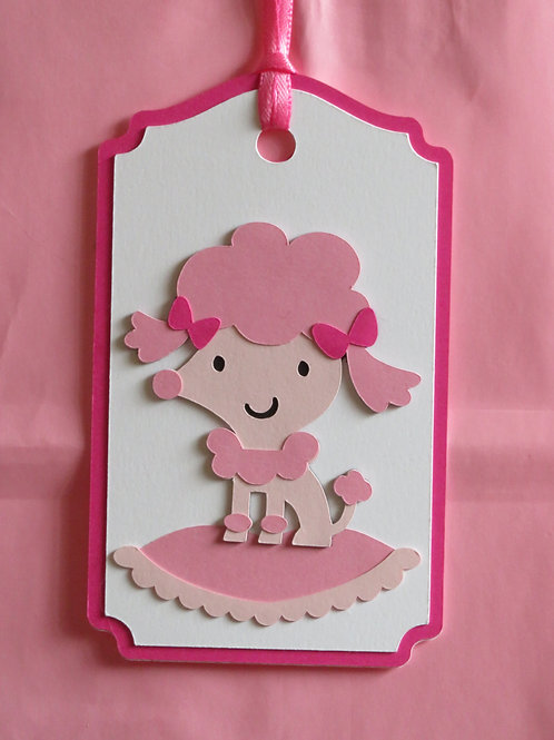 Pretty Pink Poodle Puppy on Pillow Gift Tag