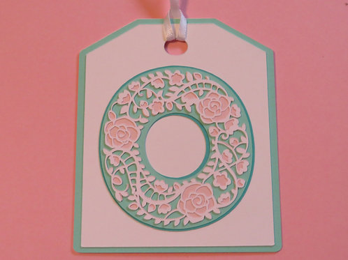 "Ornate Lace-like Letter ""O"" Monogram Gift Tag"