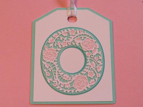 "Ornate Lace-like Letter ""O"" Monogram Gift Tag"