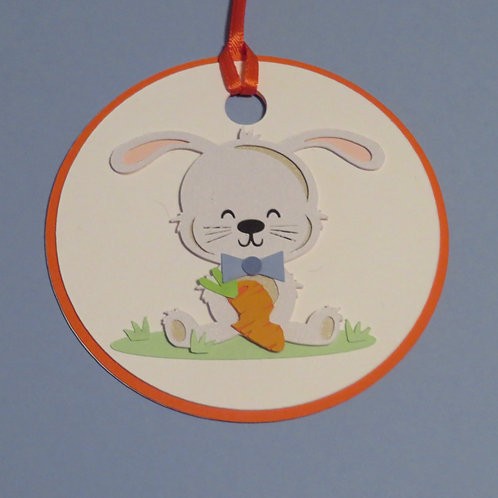 Bow Tie Bunny Rabbit With Carrot Gift Tag