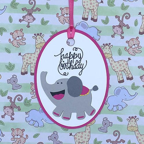 Happy Birthday Elephant Gift Tag
