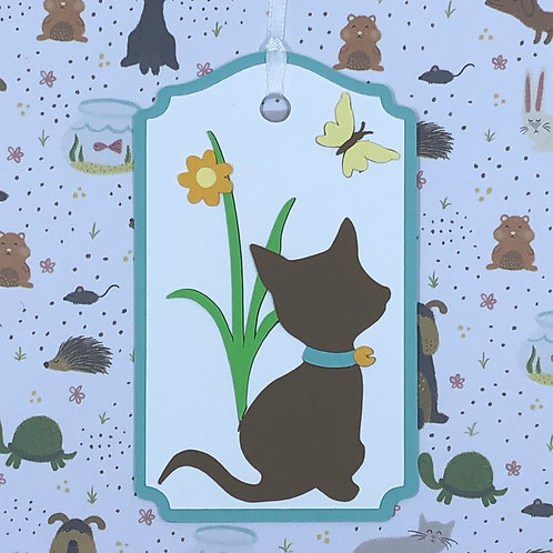 Little Brown Cat Watching Butterfly Gift Tag