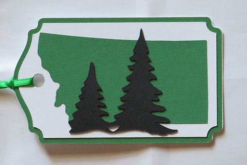Two Pine Trees Silhouette on State of Montana