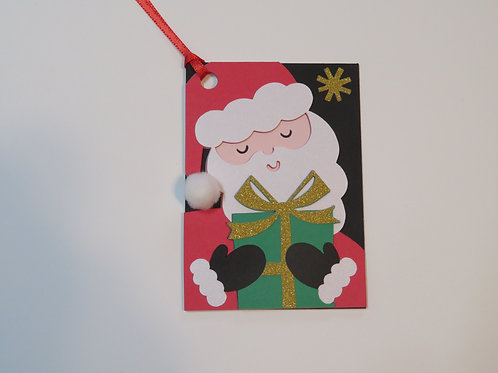 Santa with Present Gift Tag