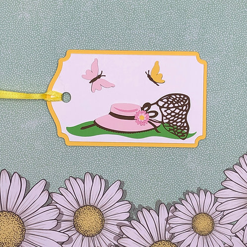 Spring Hat and Butterflies with Net Gift Tag