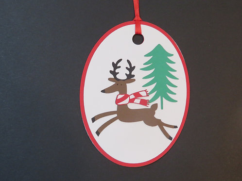Running Deer with Scarf Gift Tag