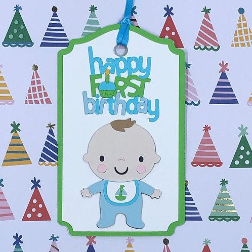 Happy First Birthday Boy Gift Tag