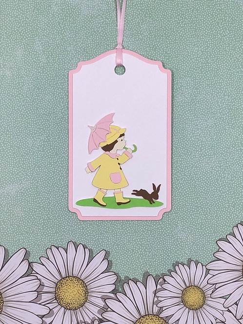 Rainy Day Girl with Bunny Gift Tag