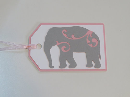 Art Nouveau  Elephant Silhouette with Pink Swirls Gift Tag