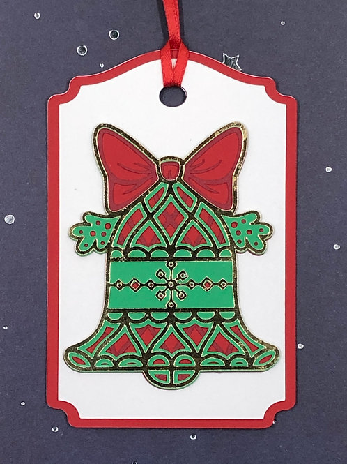 Shiny Gold Foil Holiday Bell Gift Tag