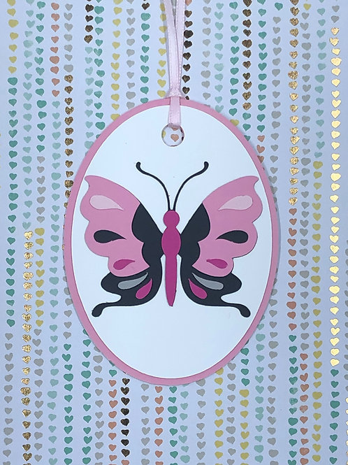 Pink and Black Butterfly Gift Tag