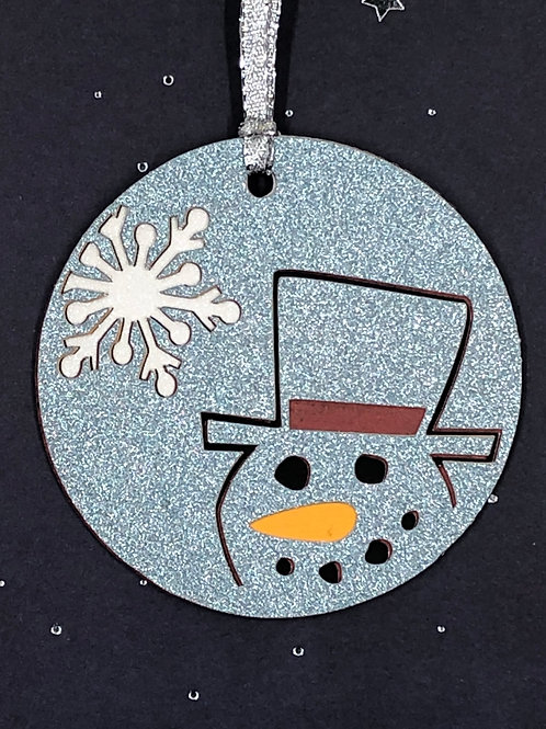 Glittery Snowflake and Snowman Head Gift Tag