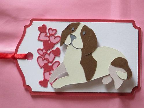 Beagle Facing Waterfall of Hearts Gift Tag