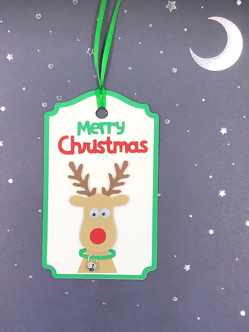 Merry Christmas Googly Eyed Rudolph Jingle Bell Gift Tag