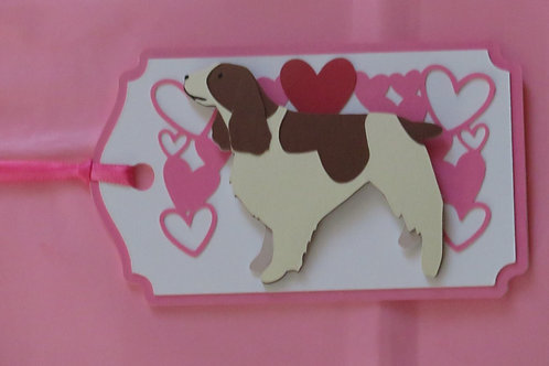 English Springer Spaniel Under Canopy of Hearts Gift Tag