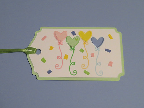 Heart Ballons and Confetti Celebration Gift Tag
